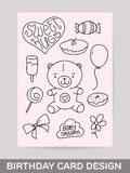 KId's hand drawn greeting card design with doodle Royalty Free Stock Photos