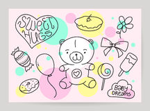 KId's hand drawn greeting card design with doodle Stock Photos