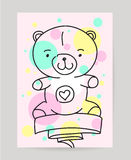 KId's hand drawn greeting card design with ribbon Royalty Free Stock Photos