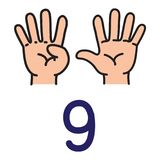 Kid`s hand showing the number nine hand sign. Kid`s hand showing the number nine sign by fingers. Icon of hand and fingers for counting education . Childrens Royalty Free Stock Photography