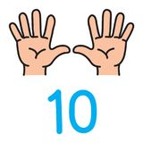 Kid`s hand showing the number ten hand sign. Kid`s hands showing the number ten by fingers. Icon of hand and fingers for counting education . Childrens vector stock illustration