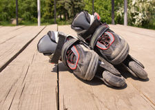 Kid`s inline rollerblade Stock Images