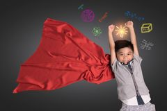 Kid`s learning inspiration world in science education with girl stock image