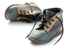 Kid's leather shoes Stock Photos