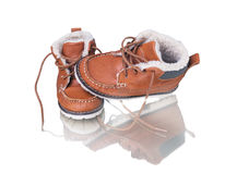 Kid's leather shoes on white background Stock Photography