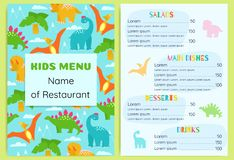 Kid`s menu with dinosaurs. Design vector template. stock illustration
