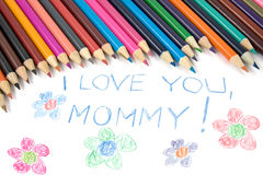 Kid's mothers day drawing Stock Photography