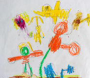 Kid's painting of children play well together imagination Stock Photo