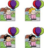 Kid's Party. A young girl holding balloons in front of a house Stock Photo