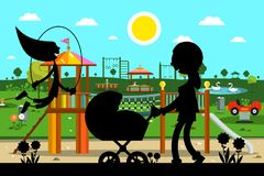 Kid`s Playground in Park with Mother and Child. Silhouette Stock Image
