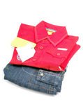 Kid's red shirt and denim Royalty Free Stock Image