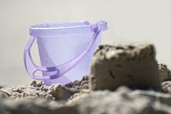 Kid's sandpit bucket closeup Royalty Free Stock Photo