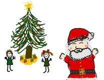 Kid's & Santa on Christmas morning. Child's drawing of a happy Christmas morning Stock Image