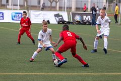 Kid`s soccer championship in Sant Antoni de Calonge in Spain Royalty Free Stock Image
