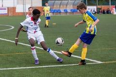 Kid`s soccer championship in Sant Antoni de Calonge in Spain Stock Images