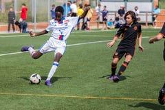 Kid`s soccer championship in Sant Antoni de Calonge in Spain Royalty Free Stock Image