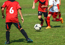 Kid's soccer match Royalty Free Stock Image