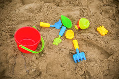 Kid's tools for games on the sand. Royalty Free Stock Images