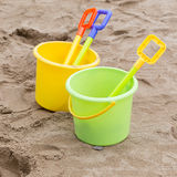 Kid's toys for playing sand bucket and shovel Royalty Free Stock Photo