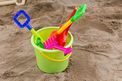 Kid's toys for playing sand bucket and shovel Royalty Free Stock Photography