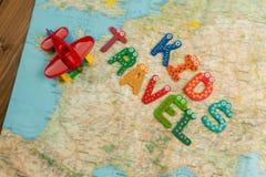 Kid`s travel theme background. Royalty Free Stock Image