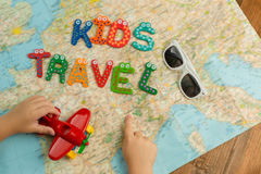 Kid`s trip travel theme background. royalty free stock photo