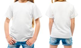 Kid`s White T-shirt. On the girl from the front and the back sides isolated on a white background stock photography