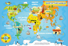 Kids world map. With animals and objects stock illustration