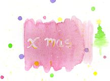 Kid`s xmas watercolour paint on paper background royalty free stock photography