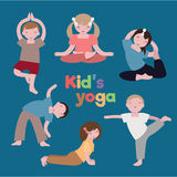 Kid's yoga. Vector image of sport education Royalty Free Stock Photo