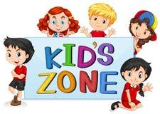 Kid`s zone with international kids. Illustration royalty free illustration