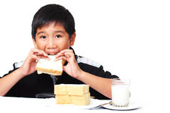 Kid with sandwich Stock Photos