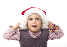 Kid with santa hat Stock Photography