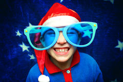 Kid in Santa Hat Stock Photos