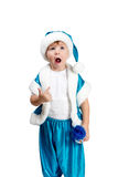 Kid Santa points to your open mouth Royalty Free Stock Photography