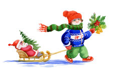 Kid with santa toy and fir tree sliding on snow. Watercolor illustration.  Stock Photos