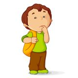Kid with School Bag. Vector illustration of confused kid with school bag Stock Photos