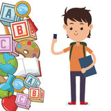 Kid school bag supplies. Vector illustration eps 10 Stock Image