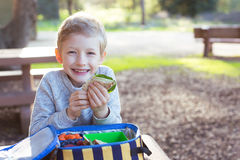 Kid at school lunch. Smiling schoolboy enjoying recess and healthy lunch Royalty Free Stock Images