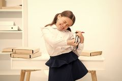 Kid school uniform making exercise stretching increase productivity. Exercises to maintain vivacity. Role of active. Breaks in educational process. Girl child stock photo