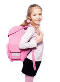 Kid with schoolbag. Child with schoolbag. Girl with school bag isolated on white Royalty Free Stock Photography