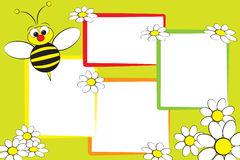 Kid scrapbook - Bee and daisies Royalty Free Stock Images