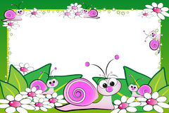 Kid scrapbook with blank frame message. Kid scrapbook with snails and white daisies - Photo or message frames for children Stock Images