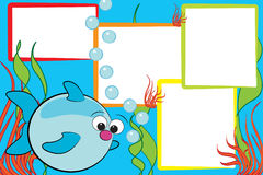 Kid scrapbook - Fish and air bubbles. Kid scrapbook with a fish end air bubbles - Photo frames for children Stock Photography