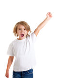 Kid screaming with happy expression hand up. Children kid screaming with happy expression hand up isolated on white Royalty Free Stock Photo