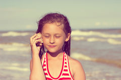 Kid and the sea Royalty Free Stock Image