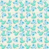 Kid seamless pattern with cartoon blue dogs Royalty Free Stock Image