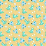 Kid seamless pattern with cartoon blue dogs Stock Photography