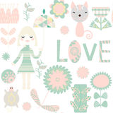 Kid seamless pattern. It is located in swatch menu,  image. Colorful vector illustration Stock Photo