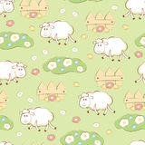 Kid seamless with sheep Stock Photography